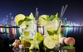 Обои lime, cocktail, mojito, drink, mint, мохито, ice