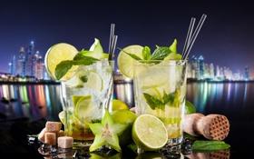 Обои ice, drink, mojito, cocktail, lime, мохито, mint
