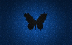 Обои black, blue, butterfly