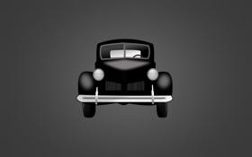 Картинка классика, темно-серый фон, машина, car, черный, classic, минимализм