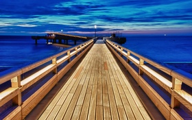 Обои море, небо, пейзаж, мост, природа