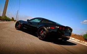 Обои чёрный, Z06, Corvette, Chevrolet, шевроле, black, корвет