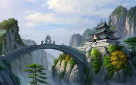 Картинка облака, мост, скалы, азия, высота, арт, храм