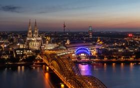 Обои ночь, мост, огни, река, вокзал, Германия, собор