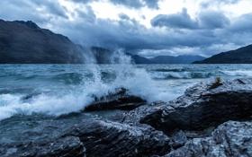 Картинка горы, New Zealand, река, Queenstown, берег