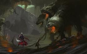 Картинка оружие, монстр, собака, воин, арт, пещера, цепи