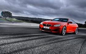 Обои Красный, Авто, BMW, Тучи, Асфальт, БМВ, Фары