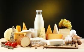 Картинка яйца, сыр, молоко, виноград, орехи, помидоры