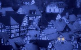 Обои шифер, ночь, город, окна, дома, вечер, крыши