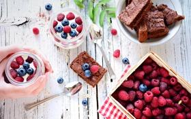 Картинка ягоды, малина, черника, пирог, десерт