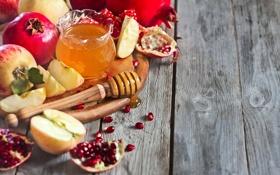 Обои яблоки, зерна, мед, honey, дольки, гранат, apples