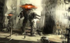 Обои роботы, фантастика, рисунок, город, обои, люди, арт