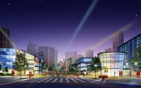 Обои ночь, город, фиолет
