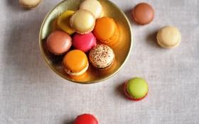 Картинка печенье, тарелка, десерт, цветное, сладкое, ассорти, macaron