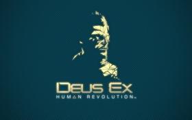 Обои deus ex, human revolution, логотип, адам дженсен, фан-арт