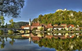 Обои город, фото, побережье, Германия, Бавария, Kallmünz