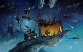 Обои машина, звезды, ночь, монстр, палатка