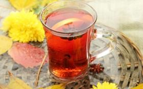 Обои tea, lemon, wallpaper, background, полноэкранные, листья, обои