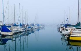 Картинка бухта, небо, стоянка, туман, яхта, лодка, море