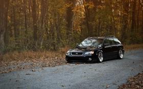 Картинка дорога, осень, Subaru, черная, black, субару, stance
