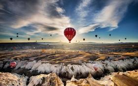 Обои полет, воздушные шары, скалы, пустыня