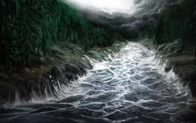 Обои волны, лес, деревья, тучи, река, поток, арт