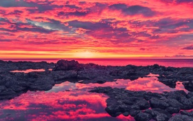 Обои море, небо, облака, закат, камни, скалы, зарево