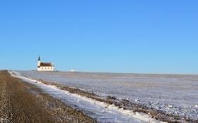 Обои пейзаж, поле, снег, дорога, храм
