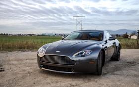 Картинка Vantage V8, Вантаж В8, трава, grey, поле, Астон Мартин, Aston Martin