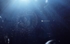 Обои пузырьки, эмблема, скат, под водой, desktopography