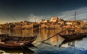 Картинка мост, река, лодки, панорама, Португалия, Portugal, Vila Nova de Gaia
