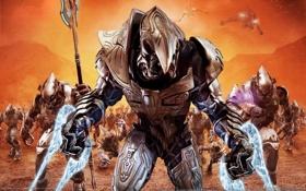 Обои Halo, копье, солдаты, броня, корабли, оружие, монстры