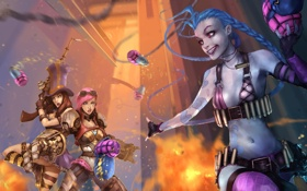 Обои league of legends, Caitlyn, Jinx