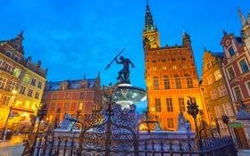 Обои здания, дома, ограда, Польша, фонтан, Гданьск