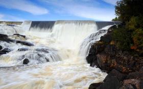 Обои река, камни, берег, растительность, водопад, поток