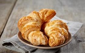 Картинка завтрак, тарелка, выпечка, салфетка, круассаны, croissant, breakfast