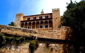 Обои город, замок, строение