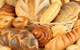 Картинка булка, корзина, батон, выпечка, хлеб, сушки, крендель
