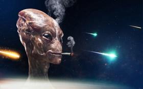 Картинка космос, дым, инопланетянин, сигарета, курит