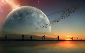 Картинка ночь, фантастика, планета, звёзды, кольцо, звёздный дождь, предел