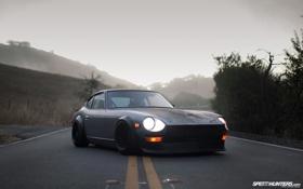 Картинка дорога, туман, тачки, зомби, Nissan, cars, ниссан