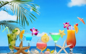 Обои fresh, tropical, summer, фрукты, море, sea, коктейль