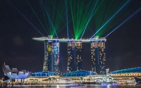 Картинка свет, город, огни, цвет, вечер, Сингапур, лазеры