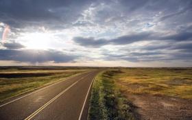 Обои дорога, небо, солнце, разметка, равнина, горизонт, изгиб