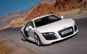 Обои машина, горы, скорость, ауди, Audi R8