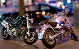 Картинка город, фон, мотоциклы