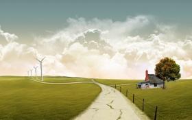 Картинка дорога, поле, осень, небо, пейзаж, природа, домик