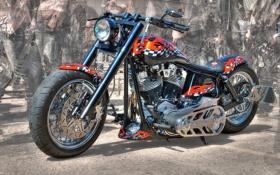 Обои дизайн, HDR, Harley-Davidson, форма, аэрография, мотоцикл, фон