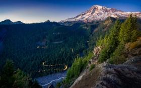 Картинка лес, горы, природа, долина