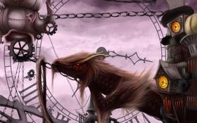 Обои дракон, часы, арт, цепи, механизмы